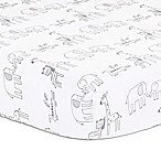 Little Haven Elephant Park Crib Sheet in White/Grey