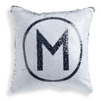 Sequined Circle Initial Throw Pillow in Black
