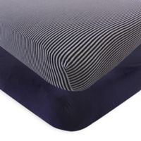 Touched by Nature Striped Organic Cotton Fitted Crib Sheet in Navy/Heather Grey (Set of 2)