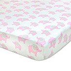 Wendy Bellissimo™ Mix & Match Elodie Elephant Fitted Crib Sheet in Pink/White