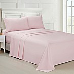 Ellen Tracy Solid Microfiber Queen Sheet Set in Pink