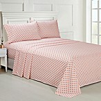 Ellen Tracy Lace Print Queen Sheet Set in Coral