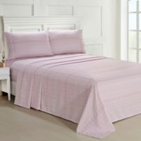 Ellen Tracy Lace Print Twin Sheet Set in Pink