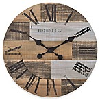 FirsTime & Co.® Reclaimed Pallets Wall Clock in Whitewashed Brown