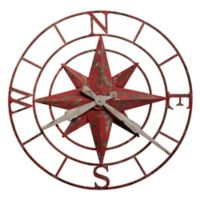 Howard Miller® Compass Rose Wall Clock in Antique Red