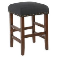 Homepop Wood Upholstered Bar Stool in Dark Navy
