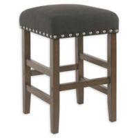 Homepop Wood Upholstered Bar Stool in Dark Charcoal