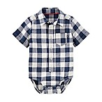 OshKosh B'gosh® Size 9-12M Button-Front Plaid Bodysuit in Navy