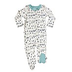 Finn + Emma® Size 0-3M 100% Organic White Mountains Footie in Blue