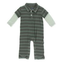 KicKee Pants® Size 3-6M Stripe Polo Romper in Green