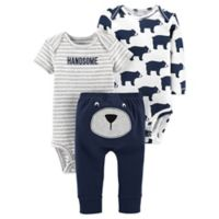 carter's® Preemie 3-Piece Bear Bodysuit and Pant Set in Navy