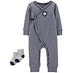 carter's® Preemie 2-Piece Striped Lion Kimono Coverall and Sock Set