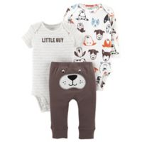 carter's® Preemie 3-Piece Dog Little Character Bodysuit and Pant Set in Brown