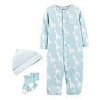 carter's® Preemie 3-Piece Giraffe Converter Gown Set in Blue