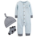 carter's® Preemie 3-Piece Bear Coverall, Knot Hat, and Sock Set in Blue