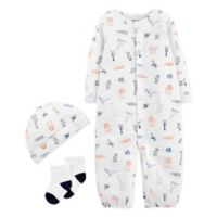 carter's® Preemie 3-Piece Animals Coverall, Hat, and Sock Set in White