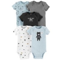 carter's® Preemie 5-Pack Bears Short Sleeve Bodysuits in Blue