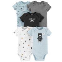 carter's® Preemie 5-Pack Bears Short Sleeve Bodysuits in Blue