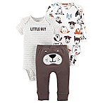 carter's® Newborn 3-Piece Dog Little Character Bodysuit and Pant Set in Brown