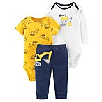 carter's® Size 3M 3-Piece Mommy Digs Me Shirt, Bodysuit, and Pant Set in Yellow