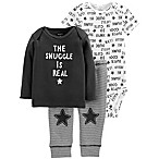 carter's® Size 3M 3-Piece Snuggle Shirt, Bodysuit, and Pant Set in Black/White