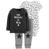 carter's® Size 9M 3-Piece Snuggle Shirt, Bodysuit, and Pant Set in Black/White