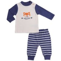 asher and olivia® Size 3-6M 2-Piece Woodland Fox Shirt and Pant Set in Blue