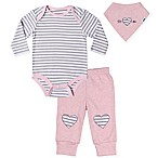 asher and olivia® Size 3-6M 3-Piece Long Sleeve Bodysuit, Pant and Bib Set in Pink