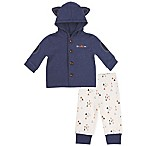 asher and olivia® Size 3-6M 2-Piece Woodland Fox Hooded Jacket and Pant Set in Blue