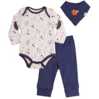 asher and olivia® Size 9-12M 3-Piece Woodland Fox Bodysuit, Pant, and Bib Set in Blue