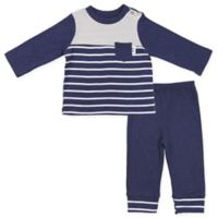 asher and olivia® Size 6-9M 2-Piece Long Sleeve Striped Shirt and Pant Set in Blue