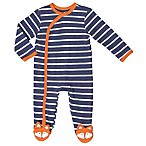 asher and olivia® Size 9-12M Woodland Fox Striped Footie in Blue