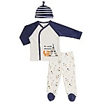 asher and olivia® Size 6-9M 3-Piece Woodland Fox Kimono Shirt, Pant, and Hat Set in Blue