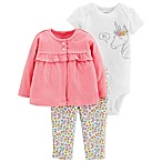 carter's® Size 9M 3-Piece Unicorn Cardigan, Bodysuit and Pant Set in Coral