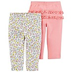 carter's® Size 3M 2-Pack Floral Pull-On Pants in Coral