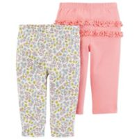 carter's® Size 6M 2-Pack Floral Pull-On Pants in Coral
