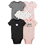 carter's® 6M 5-Pack Kitty Short Sleeve Bodysuits in Pink/Black