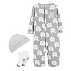 carter's® Size 3M 3-Piece Elephant Gown, Cap, and Sock Set in Grey