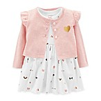 carter's® Size 6M 2-Piece Jacket and Short Sleeve Bodysuit Dress Set in White
