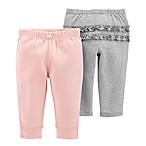carter's® Newborn 2-Pack Comfort Pant in Pink and Grey