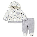 Little Me® Newborn 2-Piece Jungle Animals Hoodie and Footed Pant Set in Grey