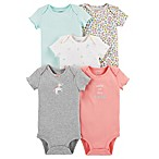 carter's® Size 3M 5-Pack Floral Unicorn Short Sleeve Bodysuits