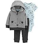 carter's® Newborn 3-Piece Bears Hoodie, Bodysuit, and Pant Set in Black