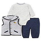 Little Me® Size 6M 3-Piece Quilted Hooded Vest, Bodysuit, and Pant in Navy