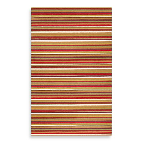 Surya B. Smith Sag Harbor 5-Foot x 8-Foot Rug in Red and Orange Stripe