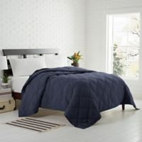 Garment Washed Down Alternative Quilted Twin Blanket in Navy