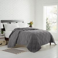 Garment Washed Down Alternative Quilted Twin Blanket in Charcoal