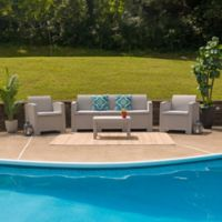 Flash Furniture 4-Piece Outdoor Rattan Sofa Convo Set in Charcoal