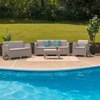 Flash Furniture 4-Piece Outdoor Rattan Loveseat and Sofa Convo Set in Charcoal