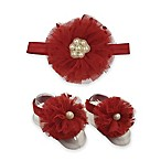 Toby™ 2-Piece Pearl Beaded Flower Headband and Footwrap Set in Red/Ivory